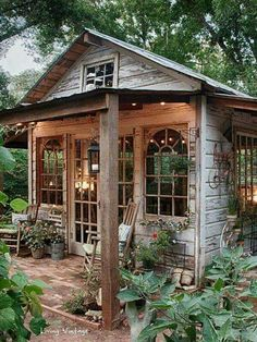 There's no link just a photo I found on facebook. I'm entirely obsessed w. The idea of a She Shed (guys get Man Caves girls get She Sheds) and this one is sooo beautiful!! #shedplans