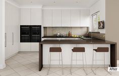 AFTER: The kitchen is now more visible and distinctly modern