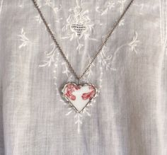 Broken China Heart and Silver Solder by Forgetmenotkeepsake, $15.00