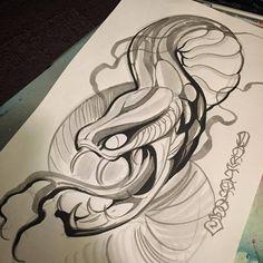 Tattoo Sketches, Tattoo Drawings, Drawing Sketches, My Drawings, Kobra Tattoo, Ozzy Tattoo, Tatuaje Old School, Spray Paint Art, Line Work Tattoo