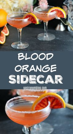 Blood Orange Sidecar - Brandy, rum, blood orange juice, orange liqueur, lime juice. #cocktails #orange #liquor #brandy