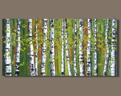 FREE SHIP abstract painting birch trees painting panoramic painting forest painting landscape painting art on canvas Birch Trees Painting, Abstract Tree Painting, Birch Tree Art, Forest Painting, Watercolor Trees, Abstract Landscape, Diy Painting, Landscape Paintings, Abstract Trees