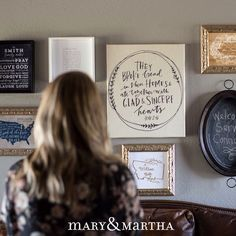 How cute is this gallery wall? You can get all of these items when you shop at choose2bless.com! Visit choose2bless.com today! #homedecor #walldecor #design #decor #personalize #confident #inspire #encourage #homesweethome #thanksgiving #christmas #Christian #flashback #interiordesign #community #custom #goodmorning #wallart #makingmemories #maryandmartha #familytime #believe #homedesign