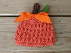 Crochet Pumpkin Hat Crochet Newborn Photo Prop by giggalz on Etsy