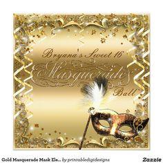Gold Masquerade Mask Elegant Ball Birthday Party Card