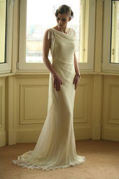 1930s Style Silk Wedding Dress || Natalia Misslin  at art-deco-weddings.com