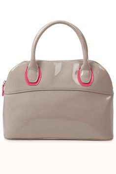 LOVE the Nude vs Neon they have on this bag. The patent pleather makes it very sleek. >> Patent Kettle Bag in Grey(really?) >> TopShop.com >> $68
