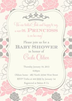 Superior Princess Baby Shower Invitation, Pink And Grey Floral With Polka Dots,  Tickled Pink Baby Shower Invitation, Tiara