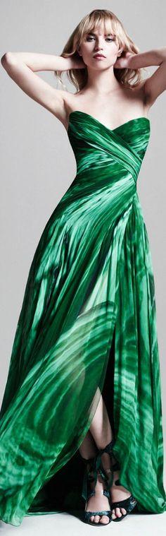 Stunning Green Maxi Dress | Monique Lhuillier