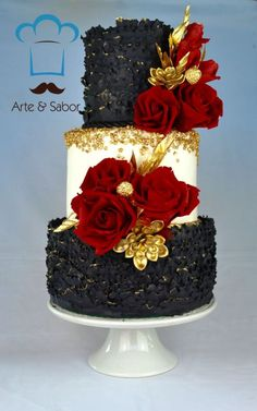 Never mind the black, just three tiers like the middle one. I especially like the flowers