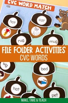 These interactive file folder games are perfect for learning to read CVC words. Students match the CVC word to the picture to create the acorn! These CVC word activities are perfect for first grade literacy centers! Short Vowel Activities, Phonics Activities, Hands On Activities, Kindergarten Activities, Literacy Skills, Literacy Centers, File Folder Activities, Folder Games, Teaching Phonics