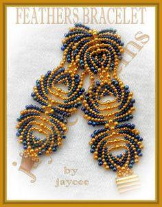 Beading Tutorial  Feathers bracelet  Peyote stitch