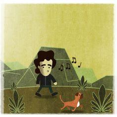 A boy walking his dog illustration