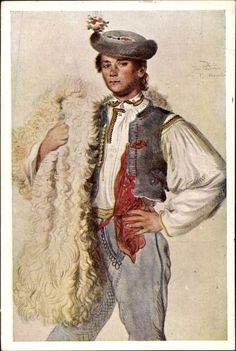Josef Mánes Portrait, Folklore, Poster, Cards, Europe, Painting, Men, Sheepskin Rug, Postcards