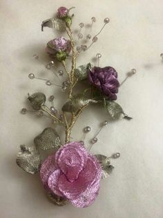 Titanyum  nakışı Ribbon Embroidery Tutorial, Hand Embroidery, Crystal Beads, Crystals, Handmade Flowers, Pretty Flowers, Tatting, Diy And Crafts, Polymer Clay