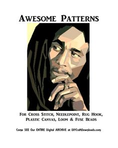 Bob Marley PRINTABLE Cross Stitch PATTERN, Rug Hooking Pattern, Plastic Canvas Needlepoint Tapestry, Perler & Crochet Rasta, Digital Pdf by Dare2beUNIQUE on Etsy Bob Marley Tapestry, Rug Hooking Patterns, Simple Prints, Needlepoint, Cross Stitch Needles, Modern Cross Stitch Patterns, Fuse Beads, Plastic Canvas Patterns, All You Need Is