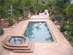Stamped and colored concrete pool deck.  Capstone Concrete San Diego, CA