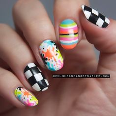 Checkerboard splatter stripe nails