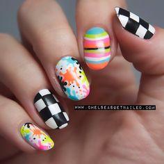Checkerboard splatter stripe nails