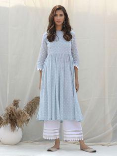Sky Blue Polka Printed Cotton Kurta with White Palazzo - Set of 2 Simple Kurta Designs, Stylish Dress Designs, Kurta Designs Women, Designs For Dresses, Long Kurta Designs, Latest Kurta Designs, Simple Pakistani Dresses, Pakistani Dress Design, Pakistani White Dress