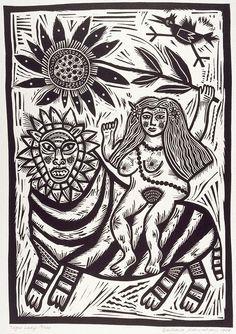 Lino Print by Barbara Hanrahan