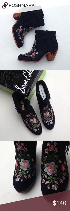 New Sam Edelman black embroidered boots 8.5 New with box. Black suede. Fringe and embroidery. Size 8.5. Sam Edelman Shoes Ankle Boots & Booties