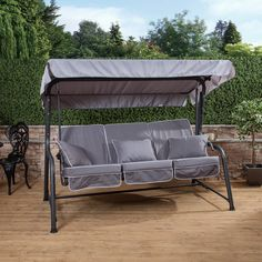 Turin 3 Seater Reclining Swing Seat with Luxury Grey Cushions - Upright
