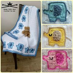Elephant's on Parade Baby Blanket Crochet Pattern from Keep Calm and Crochet On UK