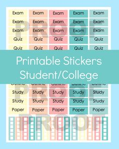 Back to school stickers for Erin Condren Planner, Printable Stickers, College Stickers