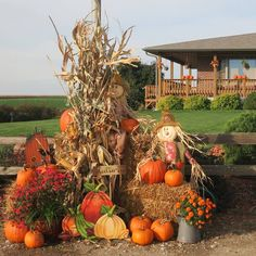Fall decoration with pumpkins and scarecrows, corn and mums Thanksgiving Decorations, Halloween Decorations, Holiday Decor, Garage Door Decor, Garage Doors, Halloween Garage Door, Halloween Living Room, College Bedroom Decor, Farmhouse Decor