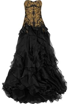 Alexander McQueen Embroidered silk faille and organza gown.