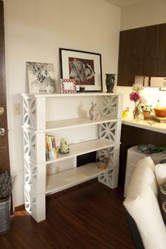 Shelf made out of wood planks & cinder blocks shelves + concrete block furniture