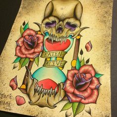 Skull and hourglass tattoo flash by Darin Blank. #tattoo #traditional #traditionaltattoo #neotraditional #art #illustration #watercolor