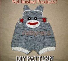 Baby Sock Monkey Overalls Buttons at legs for easy por Cathyren