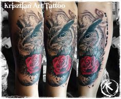 Krisztian Art Tattoo - Owl and rose forearm