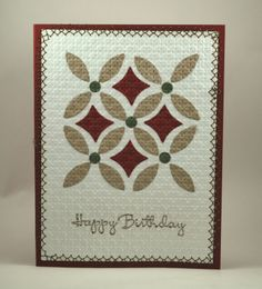 """handmade card ... quilt look ... lattice die ... luv the pattern created with just the """"inside"""" pieces  ... of the die cut .... embedded embossing ... Stampin' Up!"""