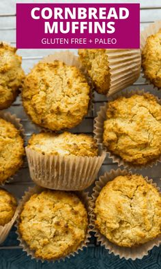 These paleo cornbread muffins are the best! Made with almond flour, coconut flour and nutritional yeast they are so easy. Slightly sweet and crumbly you are going to love them. #paleo #muffins #cornbread #glutenfree Paleo Recipes Easy, Fall Recipes, Real Food Recipes, Snack Recipes, Yummy Food, Brunch Recipes, Snacks, Paleo Cornbread, Cornbread Muffins