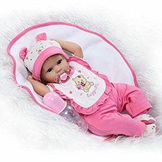 Nicery Reborn Baby-Puppe Weich Simulation Silikon Vinyl 18 Zoll 45 cm Magnetisch Mund lebensechte Junge Mädchen Spielzeug Boy Girl RD45C049O Eyes Open