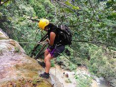 rapel en cascada, Mil granadas México, waterfall, rapelling
