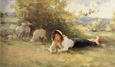 Nicolae Grigorescu (May was one of the founders of modern Romanian painting. Sheep Paintings, Puzzle Art, Global Art, Watercolor Techniques, Portrait Art, Portrait Paintings, Pretty Art, Art Forms, New Art