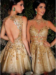 Gorgeous A-line Scoop Gold Short Homecoming Dress with Open Back #homecomingdresses #SIMIBridal