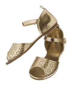 Metallic Flower Cut-Out Sandals at Crazy 8