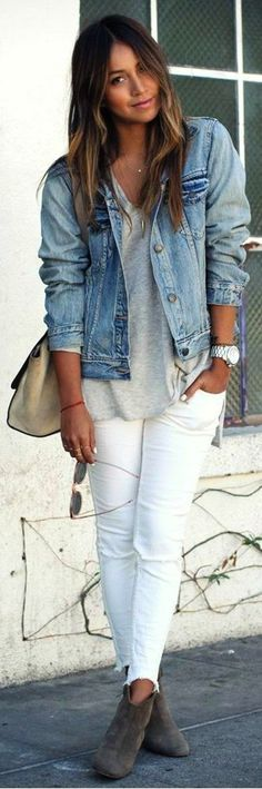 #street #style #womens #fashion #spring #outfitideas   Denim jacket + white jeans + loose waves ombré hair #JeansWomensLoose