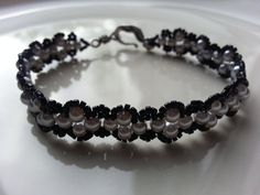 Lavender and Black Lace look Bracelet by tahdeah on Etsy, $5.00