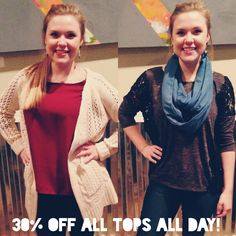 30% OFF ALL TOPS ALL DAY! Do not miss out on the last few days of our 12 Days of Christmas Sale! :)