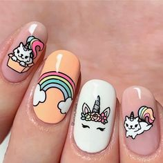 Want some ideas for wedding nail polish designs? This article is a collection of our favorite nail polish designs for your special day. Read for inspiration Unicorn Nails Designs, Unicorn Nail Art, Nail Polish Designs, Nail Polish Colors, Nail Art Designs, Nail Designs For Kids, Color Nails, Cute Nail Art, Cute Nails