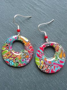 Mokume gane round colorful earrings, polymer clay