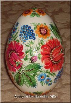 FOLK FLOWERS - Ukrainian Petrykivka Egg Pysanka  Like the shades of the flowers.
