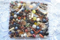 Vintage Antique Mixed Bead Lot Czech, Plastics, Black Glass & Trade Beads Unsort