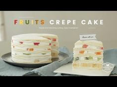 YouTube Asian Desserts, Desserts To Make, No Bake Desserts, Baking Recipes, Cake Recipes, Dessert Recipes, Fruit Crepes, Cafe Rico, Korean Cake